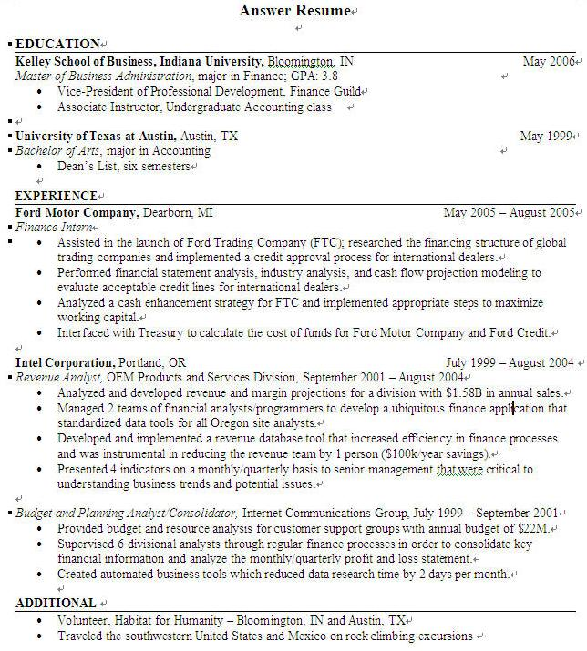 answer resume sample resume - Sample Undergraduate Resume